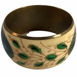 PEACOCK Feather Hand-Painted Bangle